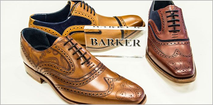 Barker Shoes: Three brogues displayed in a triangle in different shades of brown.