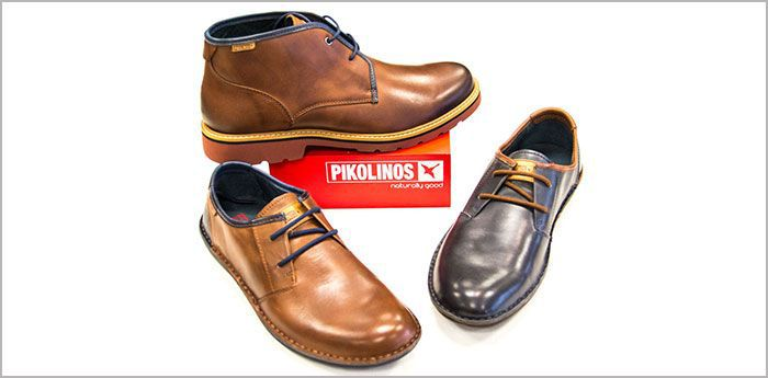 Pikolinos Shoes: Three shows, two brown and one navy being displayed.