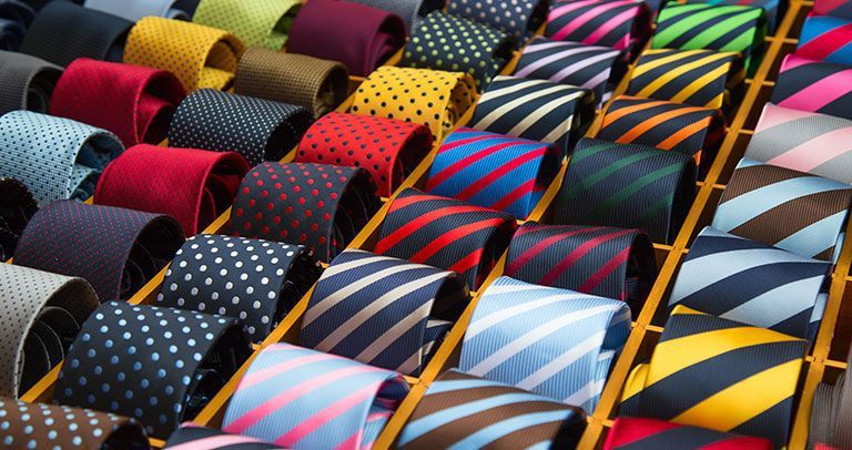 Testimonials - Chris Swales: A selection of colourful striped ties.